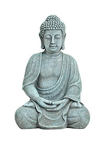 WOMA Deko Buddha Figur Sitzend aus Wetterfestem Magnesia - 30cm hoch - Dekoration für Haus, Wohnung...