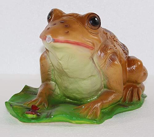 RAKSO Deko Garten Figur Gartenfigur Tierfigur Teichfigur Wasserspeier Kröte Frosch groß auf Blatt...