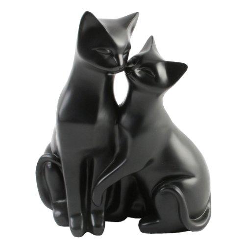 """Katzenfigur mit zwei Katzen, Motiv """"Mr & Mrs Cat"""", Zierelement für Katzenliebhaber, Weiß,..."""