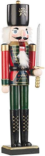 infactory Weihnachtsschmuck: Handbemalter Deko-Nussknacker Soldat im Erzgebirge-Stil, 48,5 cm...