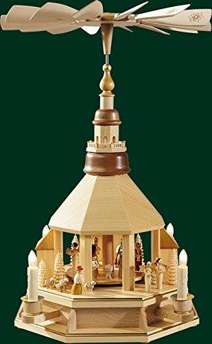 Weihnachtspyramide Erzgebirge Richard Glässer Seiffen Pyramide Seiffener Kirche mit Geburt,...