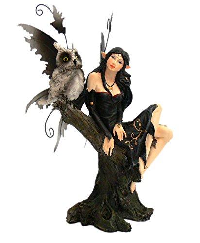 trendfinding Night Fairy auf Baumstamm mit Eule Traumfee Traumelfe Elfen Feen Elfe Fee Figur...