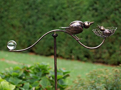 Thermobrass Windspiel XXL Wippe Gartendeko Gartenstecker Figur Außendeko Gartenfigur Vogel aus...
