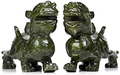 Mxchen Natural Jade Pixiu / Pixiu Chinesische Feng Shui Dekoration Gott Glück Maskottchen Büro...