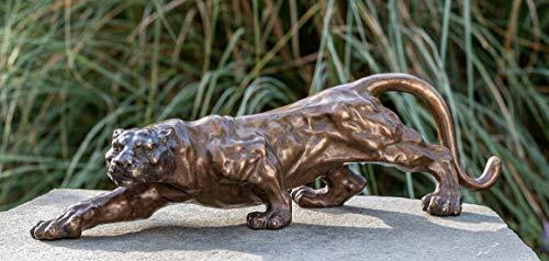 IDYL Bronze-Skulptur Jaguar | 17x19x60 cm | Katzen Tierfigur als Bronze-Figur | Gartenskulptur oder...