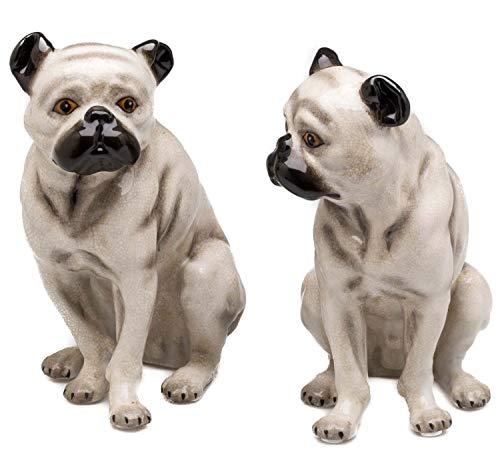 aubaho Mops Paar Porzellan Hund Figur Skulptur Porzellanfigur Dekoration im Antik-Stil