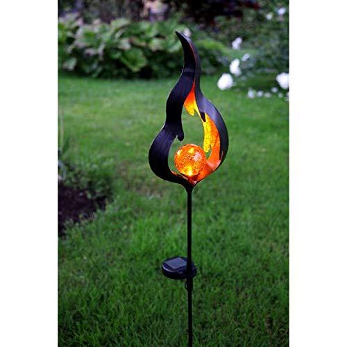 Kamaca XL LED SOLAR Gartenstab Wegeleuchte Gartenleuchte Flamme Metallstab mit beleuchteten...