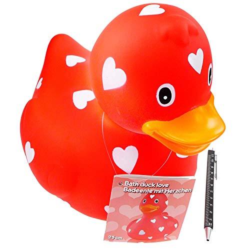 Riesen XXL Badeente 26cm lang Quietscheente rote Deko Ente rot mit Herzen