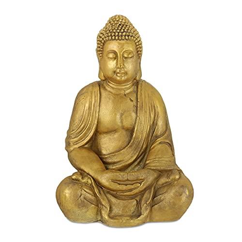 Relaxdays Buddha Figur Garten, wetterfest, frostsicher, XL Gartenbuddha sitzend, Gartenfigur, HBT:...