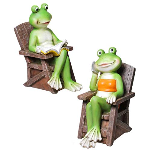 Froschpaar im Gartenstuhl 20 cm Froschfigur Dekofrosch Froschdeko Skulptur Frosch Gartenfigur...