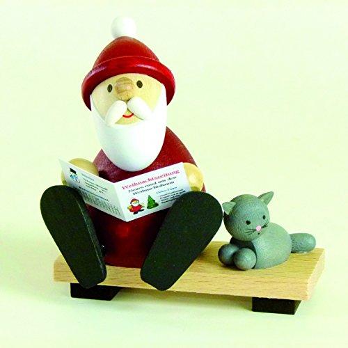 Weihnachtsfigur Weihnachtsmann modern auf Bank mit Zeitung & Katze Höhe 9,0cm NEU Holzfiguren...
