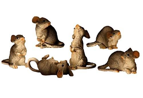 Geschenkestadl 6 Stück Maus Mäuse Figuren 4,5cm bis 8cm groß Figur für Haus und Garten Nagetiere...