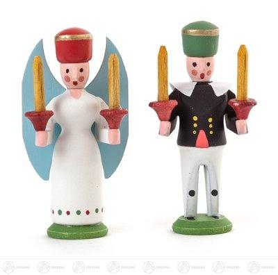 Engel & Bergmann Miniatur Engel und Bergmann Höhe ca 4 cm NEU Erzgebirge Weihnachtsfigur Holzfigur