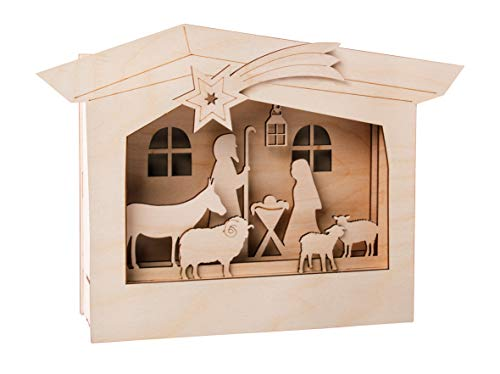 Rayher 62889505 Holzbaus.3D-Motivrahmen,FSCMixCred, Natur, 24x24x6,3cm, Krippe, 13-tlg, Box 1Set