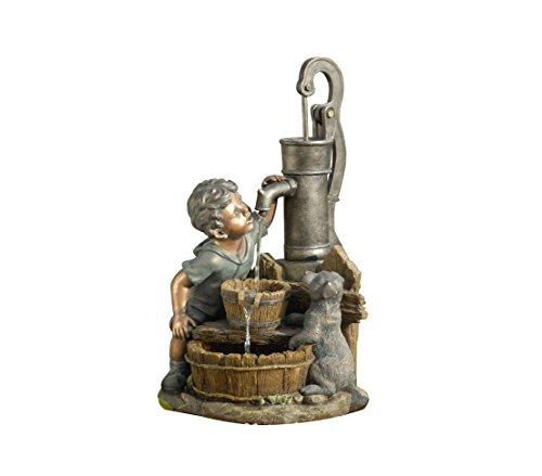 Dehner Gartenbrunnen Junge mit LED Beleuchtung, Steinoptik, ca. 68.5 x 37 x 39 cm, 8 kg, Polyresin,...