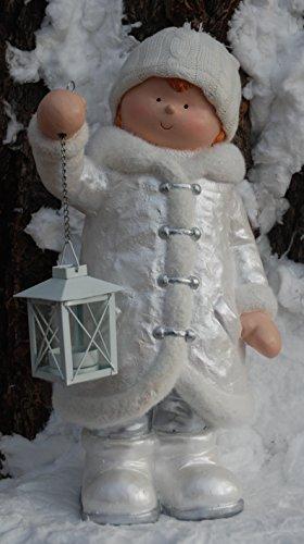 Unbekannt Winter Dekofigur Junge mit Laterne - Weihnachten, Windlicht, Wollmütze, Silber