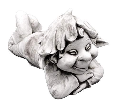 gartendekoparadies.de Massive Steinfigur lustiger Gnom Faulpelz Troll Wichtel aus Steinguss...