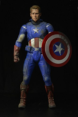 NECA 61225 - Avengers Battle Damaged Captain America Action Figur, 45 cm