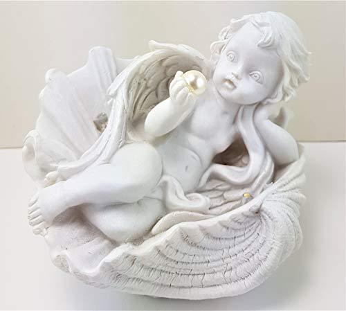 Christshop Engel mit Perle, liegend in Muschel & LED Licht
