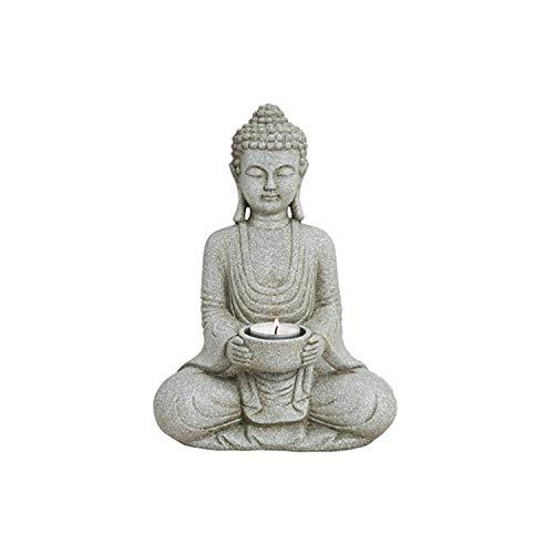 WOMA Deko Buddha Figur mit Teelichthalter - 27cm hoch - Wetterfeste Budhha Statue als Dekoration...