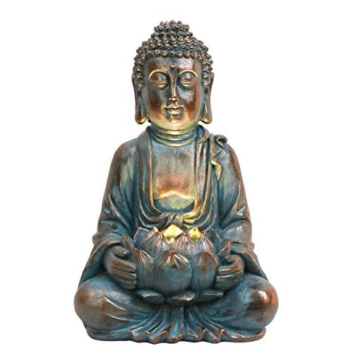 TERESA'S COLLECTIONS Buddha Figur Garten Solarleuchte Klein 32cm Harz sitzende Budda Statue...
