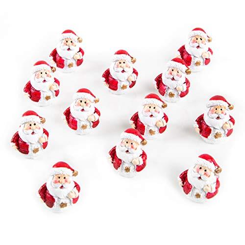 Logbuch-Verlag 12 kleine Mini Weihnachtsmänner rot weiß Gold Nikolaus Figuren Deko Weihnachten...