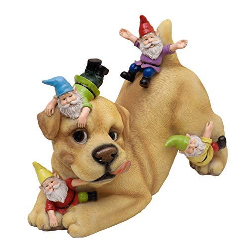TERESA'S COLLECTIONS Hund Gartenfiguren für Außen mit 4 Gartenzwerge 22cm Kunstharz Wetterfest...