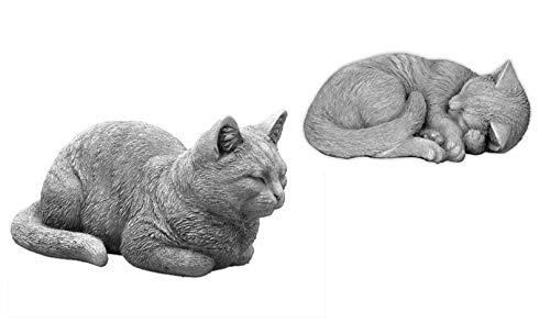gartendekoparadies.de Sonderangebot Massive Steinfiguren Katzen - Set Raumdeko Gartendeko Steinguss...