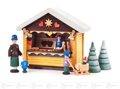 Miniatur Weihnachtsbäckerbude mit 4 Figuren und 2 Bäumchen (7) Höhe ca 9 cm NEU Erzgebirge...