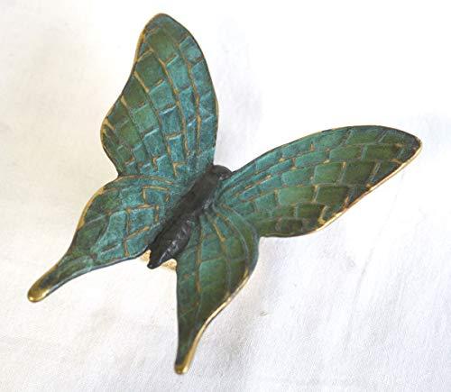 H. Packmor GmbH Bronzeskulptur grüner Schmetterling Käfer Mauerdeko Blumendeko Gartenfigur 12x3x11...