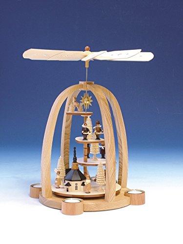 Tischpyramide Pyramide Weihnachtsfiguren elektrische Beleuchtung und Antrieb natur Höhe 41 cm NEU...