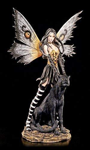 Große Elfen Figur mit schwarzem Panther - Fee XXL Statue 66 cm