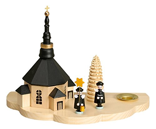 Kerzenhalter Lichthalter mit Seiffener Kirche und Kurrende dunkel Höhe ca 13cm NEU Kerze...