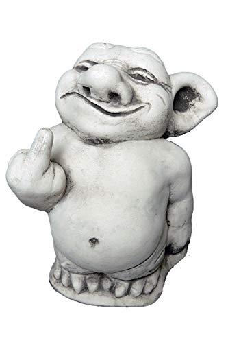 gartendekoparadies.de Massive Steinfigur lustiger Troll Mittelfinger Stinkefinger aus Steinguss...