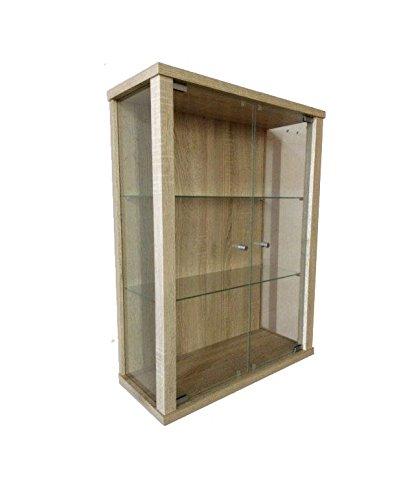K-Möbel Glasvitrine in Sonoma Eiche (80x60x25 cm) mit 2 höhenverstellbaren Glasböden aus ESG;...