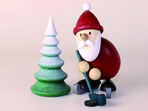Weihnachtsmann Eishockeyspieler mit verschneitem Baum Höhe ca 9,6cm NEU Erzgebirge Weihnachtsfigur...