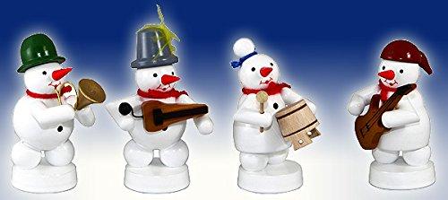 Schneemannkapelle 4 Figuren E-Gitarre, Topf, Drehleier, Horn Höhe ca 8 cm NEU Weihnachtsfigur...