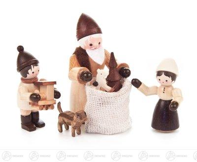 Weihnachtliche Miniatur Bescherung natur (4) Höhe ca 6,5 cm NEU Erzgebirge Weihnachtsfigur...