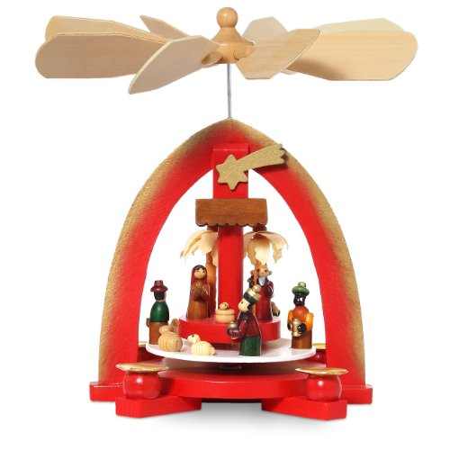 Sikora P18 rote Holz Weihnachtspyramide mit klassischer Krippenszene für Wachskerzen H ca. 23 cm