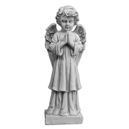 gartendekoparadies.de Massive Steinfigur großer Engel auf Podest aus Steinguss frostfest (Grau)