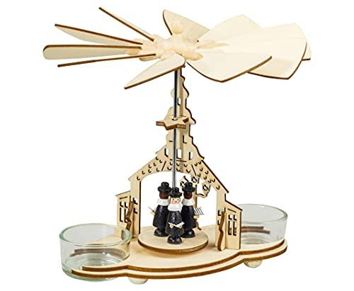 Weihnachtsdekoration Pyramide mit Kurrendesängern 16 cm Weihnachtspyramide für 2 Teelichte...