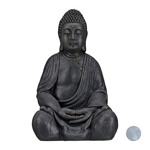 Relaxdays XL Buddha Figur sitzend, 50 cm hoch, Feng Shui, Outdoor, Garten Dekofigur, große Zen...