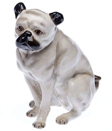 aubaho Mops Porzellan Hund Bulldoge Figur Skulptur Porzellanfigur im Antik-Stil