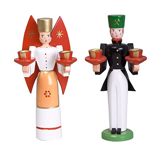 Weihnachtsfiguren Engel und Bergmann, rote Flügel – Holzengel - Weihnachtsengel – Holz –...