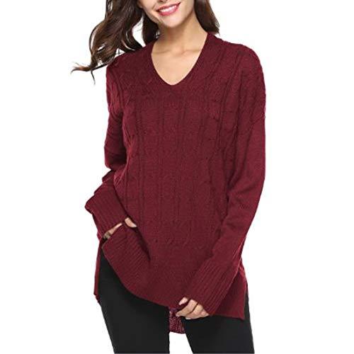 Yczx Damen Strickpullover Winter V Ausschnitt Pullover Casual Strick Sweater Basic Langarm Oberteil...
