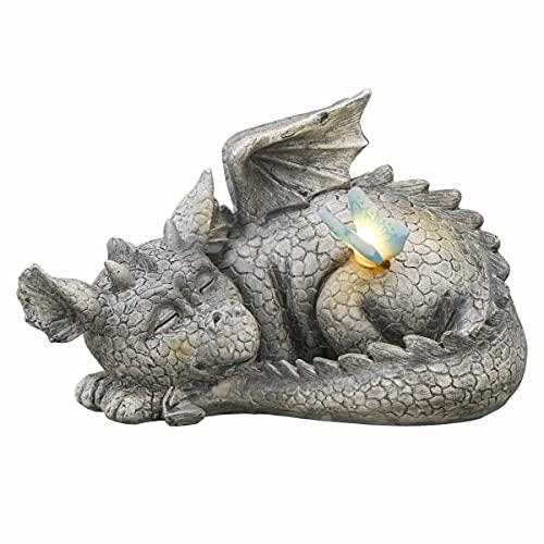TERESA'S COLLECTIONS Drachen Figuren Solarleuchte 24.5cm schlafender Drache Gartenfigur Solar LED...
