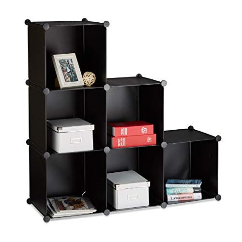 Relaxdays Stufenregal 6 Fächer, Steckregal als Kleiderschrank oder Raumteiler, offenes Regalsystem,...
