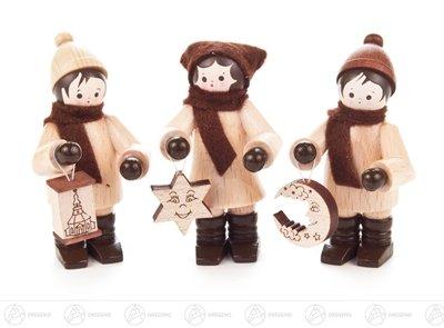 Weihnachtliche Miniatur Lampionkinder (3) Höhe ca 5,5 cm NEU Erzgebirge Weihnachtsfigur Holzfigur
