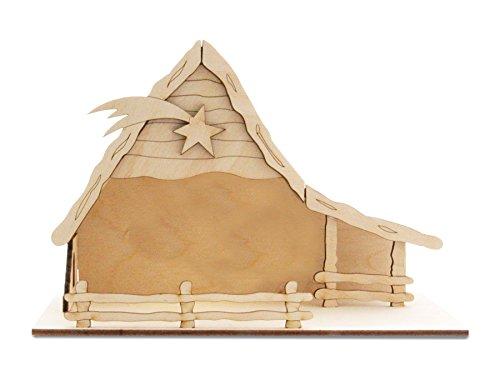 Weihnachtskrippe, Holzbausatz ohne Krippenfiguren by Sol Expert