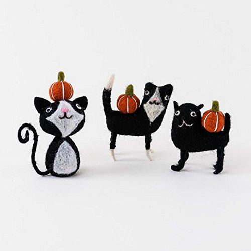 Halloween-Figuren aus Filz, 180 Grad, Schwarze Katze mit Kürbisse, 11,4 cm, 3 Stück